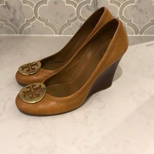 Brown Tory Burch wedge shoes
